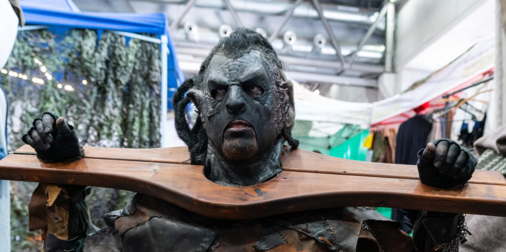 An image of a Vienna Comic Con visitor dressed up in a costume