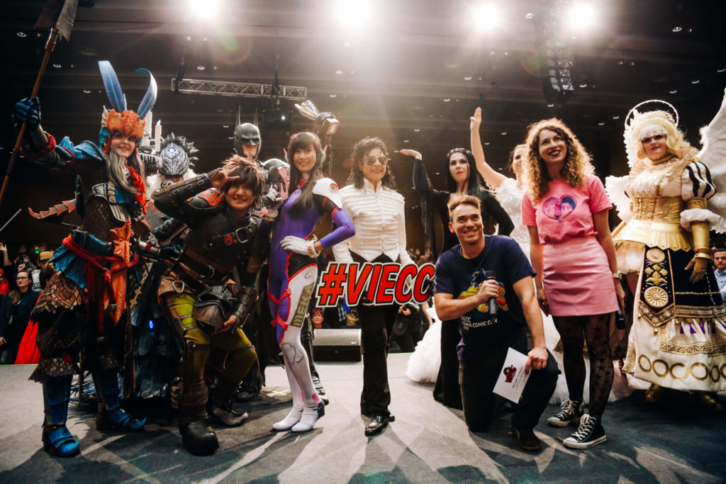 An image of Vienna Comic Con visitors in cosplay costumes