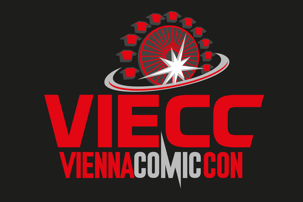 The logo of the Vienna Comic Con on a black background